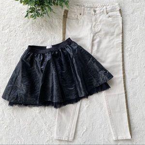 Bundle girls Gymboree jeans faux leather skirt 8